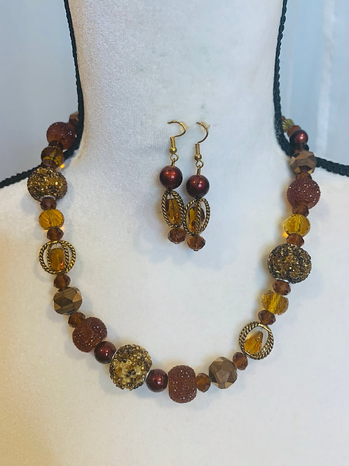 Handmade brown glass bead set