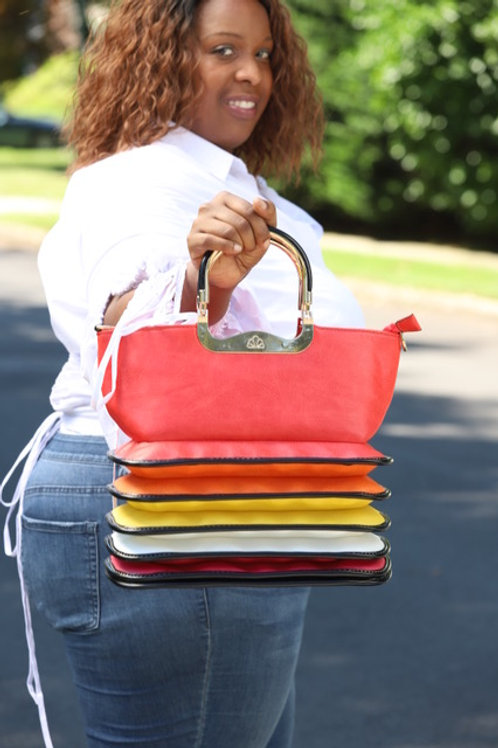 Red multi color gold accent handbag, long strap included