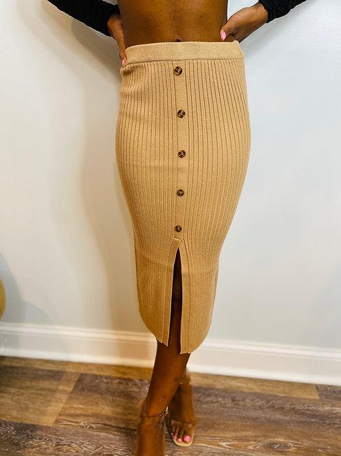 Beige Knit Button Skirt