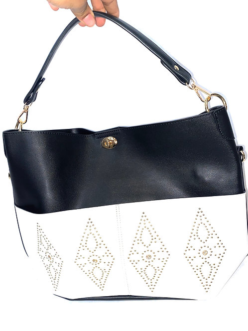 Black and White Handbag with Gold Accents