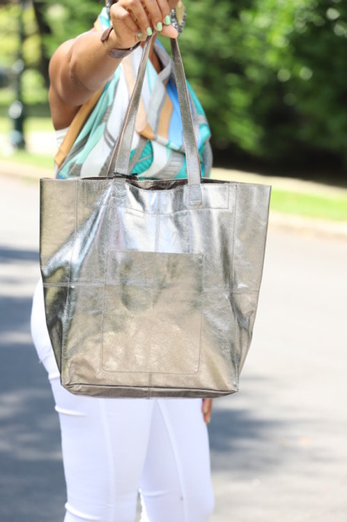 100%  Leather Pewter Grey  Tote
