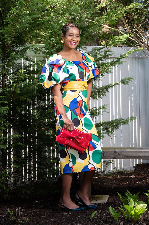 Elegant Detailed Sleeve Multi Color Dress