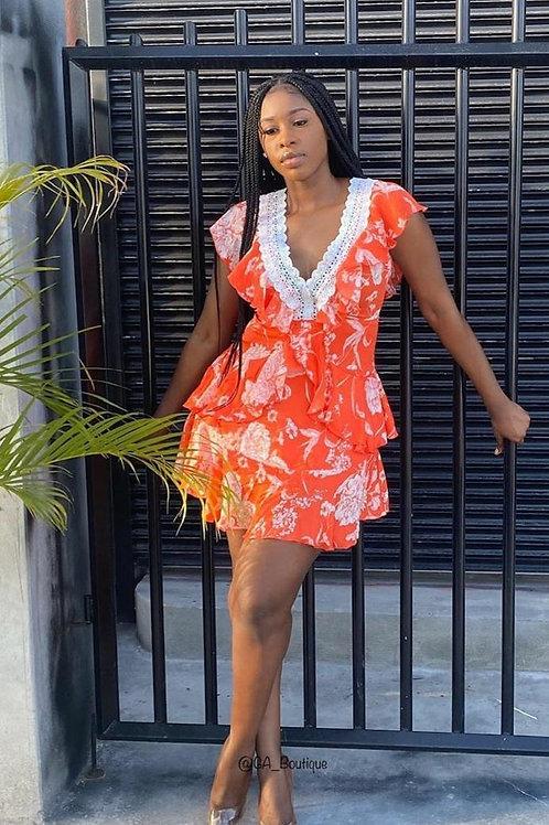 Orange and white layered v neck dress