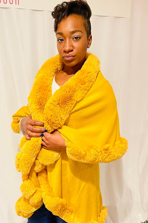 The bomb mustard faux fur double layered poncho