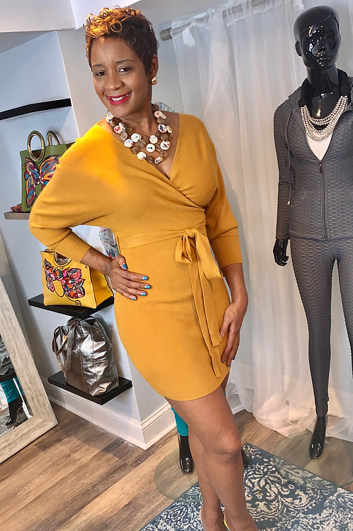 The unthinkable mustard sweater faux wrap dress with matching belt