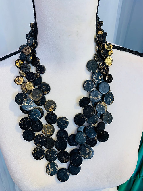 Philippine designed black and gold  Multi strand wood necklace