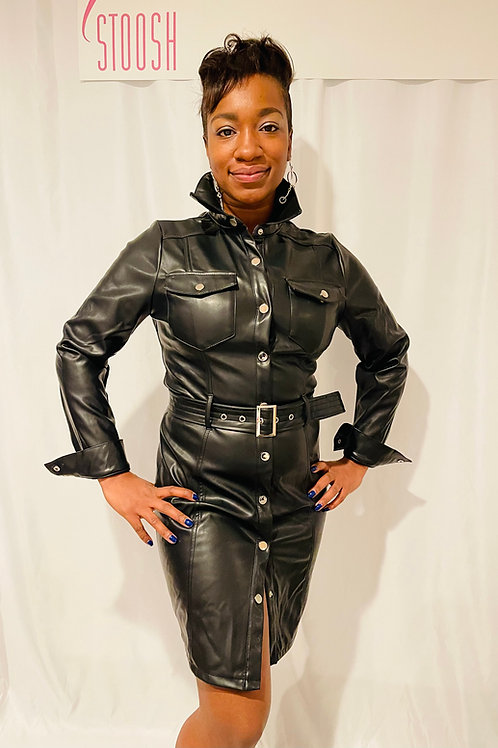 The fab black  faux leather button down belted dress
