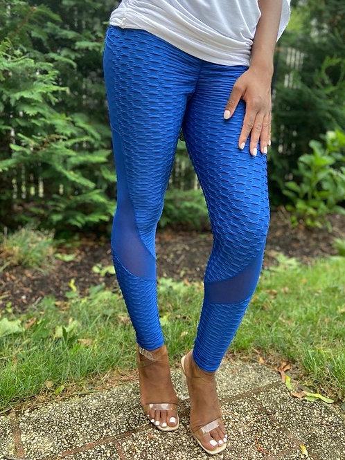 Cobalt Blue Detailed Leggings w/ Sheer Side Panels