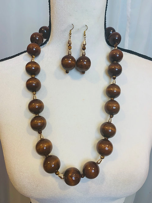 Large wood brown beads set