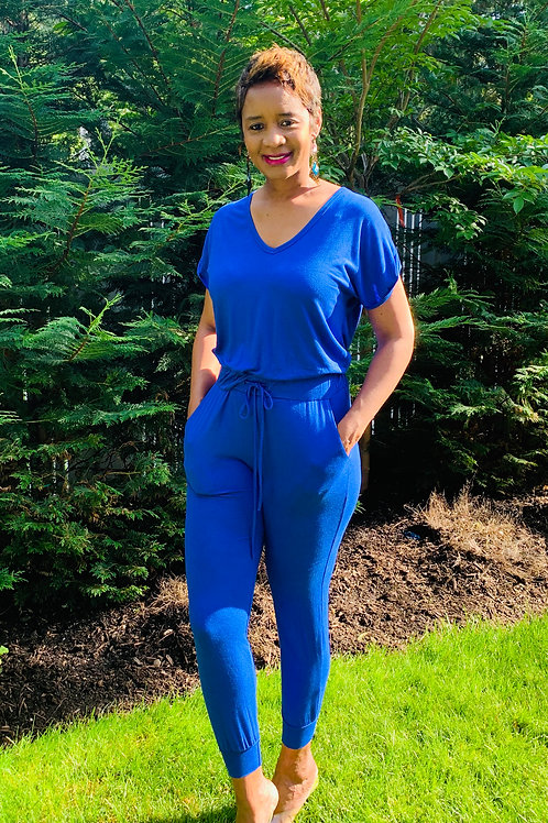 Royal blue Jogger Jumpsuit With Pockets