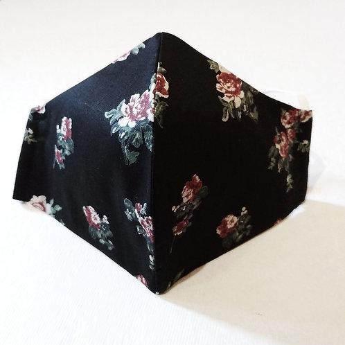Cotton Mask -Floral Black