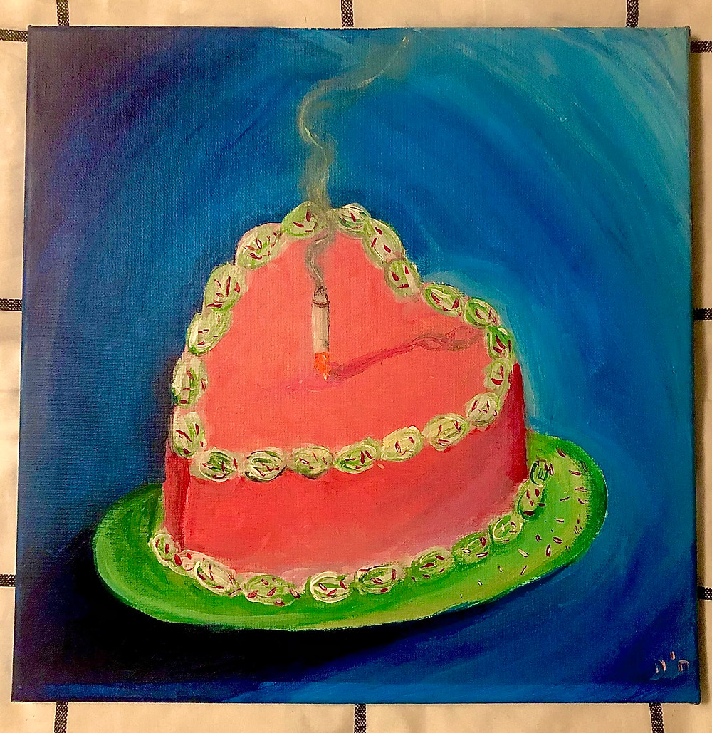 A painting of a heart shaped pink and green cake on a green plate on a blue background with a smoking cigarette in the center of the cake like a candle