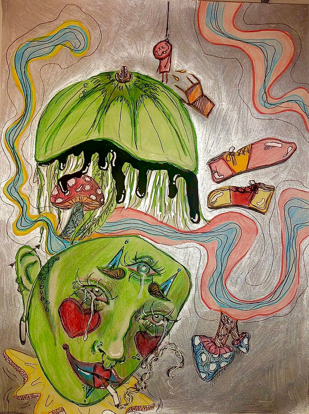 CW: imagery around suicide. A somewhat psychedelic style drawing of a green apple that is also a person's head. The person has three eyes and hearts on their cheeks and is smoking a cigarette. There are mushrooms and smoke and red bowling shoes in the background, as well as a chair and a small stick figure hanging from a noose.