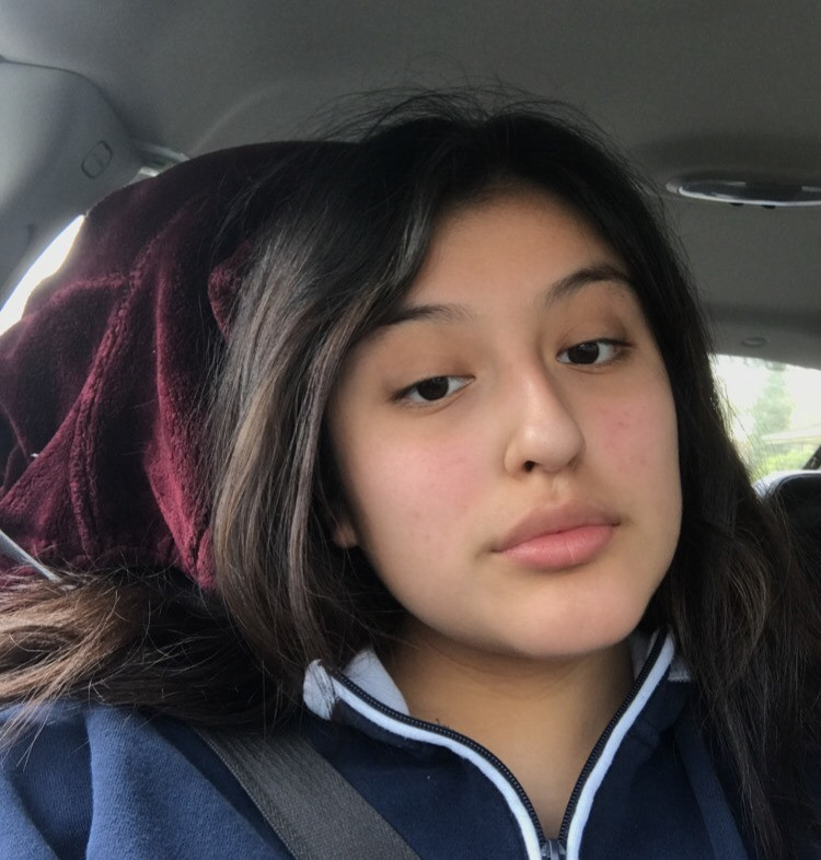 Aranza, with tan skin and long dark hair, takes a selfie in a car in a blue and white sweatshirt.
