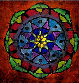 A stained glass style piece of visual art with triangles emanating from the center of the piece in yellows, blues, greens, purples, and reds.