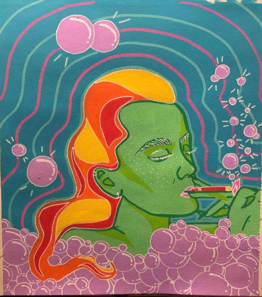 A drawing of a person in the bath lighting a cigarette in their mouth, they have green skin and orange/yellow hair. They are surrounding by pink bubbles and blue and pink radiating lines on a blue background.