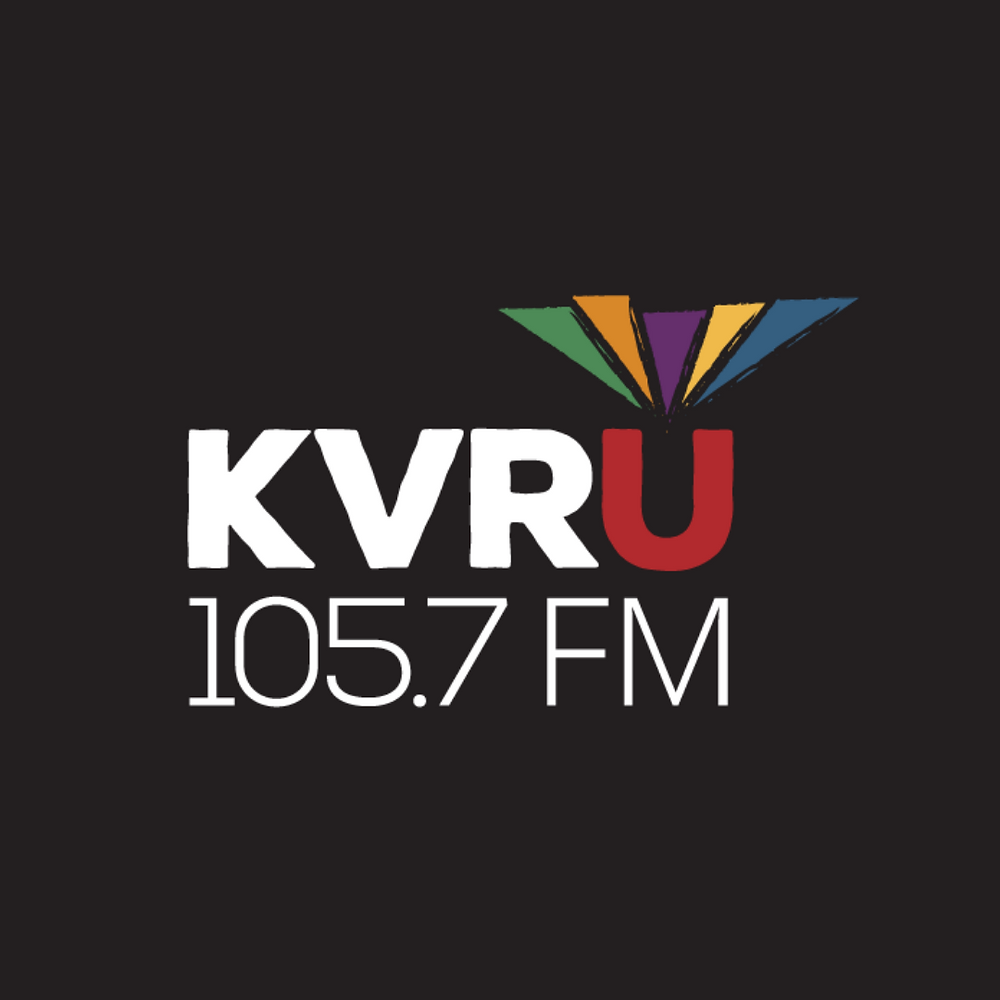 On a black background KVRU 105.7FM in red and white with triangles above the U in green, orange, purple, and yellow.
