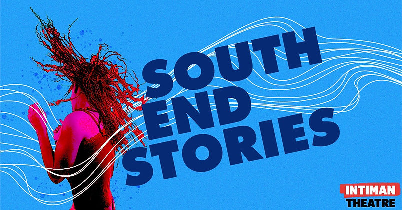 "Image description: A person with long locks flips their head as they dance, their skin appears bright hot pink and their hair and shirt appear red. White squiggles run across the image with ""SOUTH END STORIES"" in navy blue placed next to the person."
