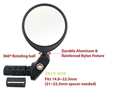 Hafny Bike Mirror, Bar End Bike Mirror, Speed Pedelec Mirror, Cycle Mirror, E-bike Mirror, Bicycle Mirror, HF-MR101
