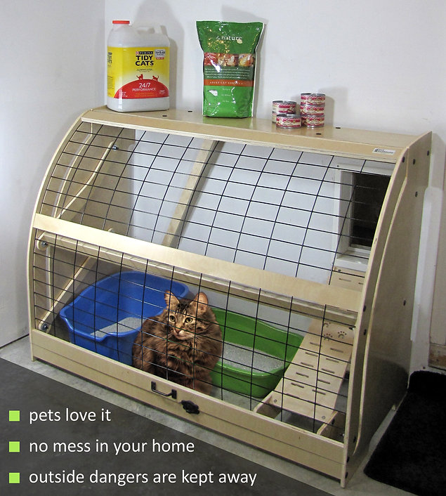 Pet Outhouse | a cat enjoys a safe ooutdoor space while smell and odor leave your home-not a grumpy cat