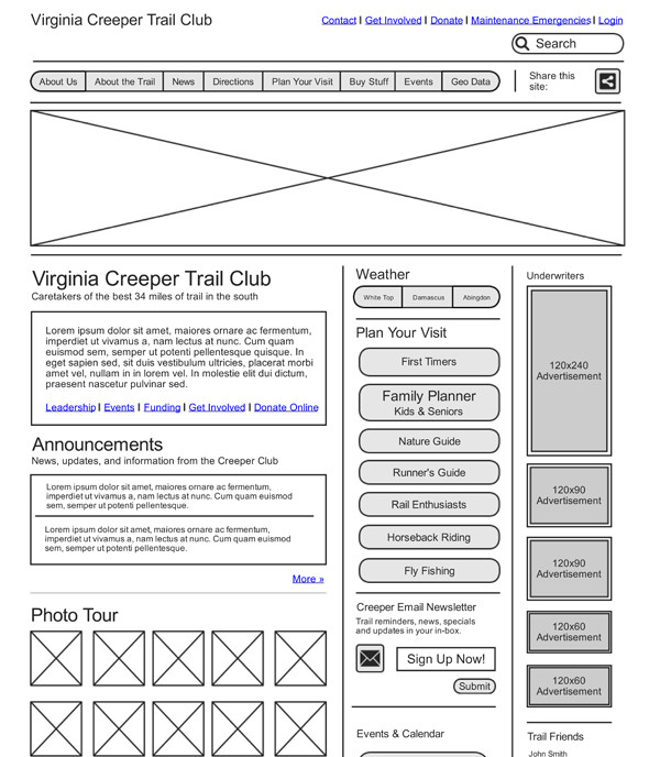 """Wireframes tend to be very text-heavy and rarely communicate art direction and tone. Especially for photography and visual assets. When's the last time a big """"X"""" said anything about your photography?"""