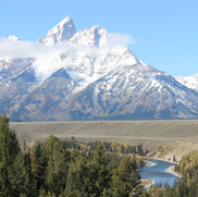 Snake River Overlook  with the Teton Range in the backgound.