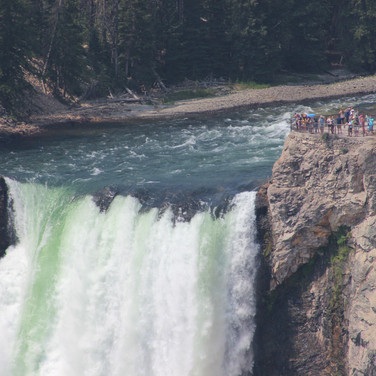 Lower Falls-the Yellowstone River. Notice the tourist look out point to the right.