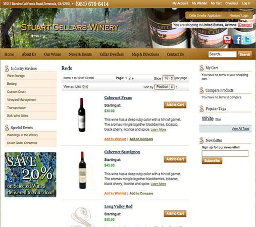 Stuart Cellars Winery ecommerce using Magento Ecommerce