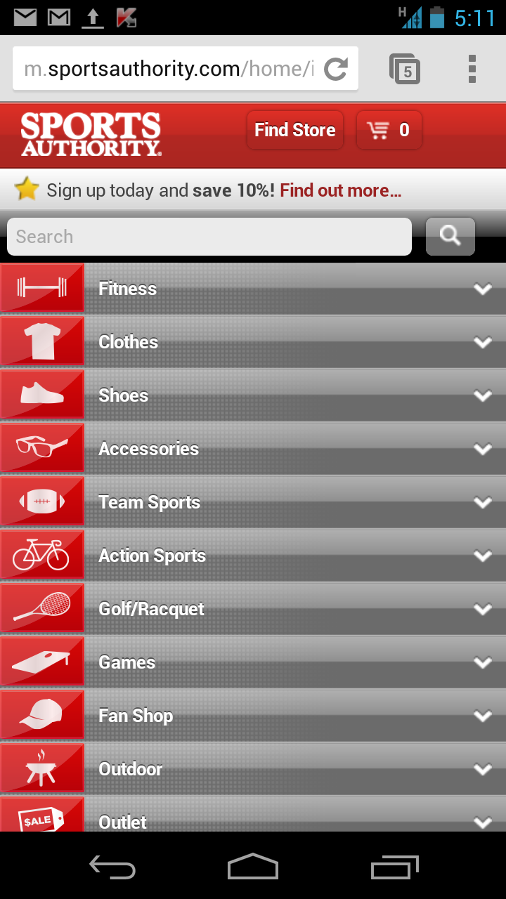 The first thing mobile visitors to m.sportsauthority.com see is the store locator.