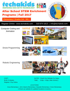 Techakids After School STEM Programs for Fall 2017.