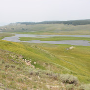 The Yellowstone River cutting through the valley.
