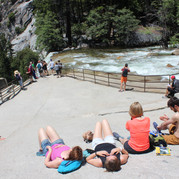 After hiking up to Vernal fall,this is the rest area
