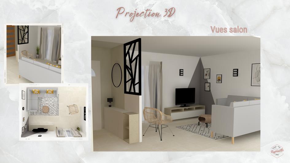 Projection 3D entrée et salon scandinave