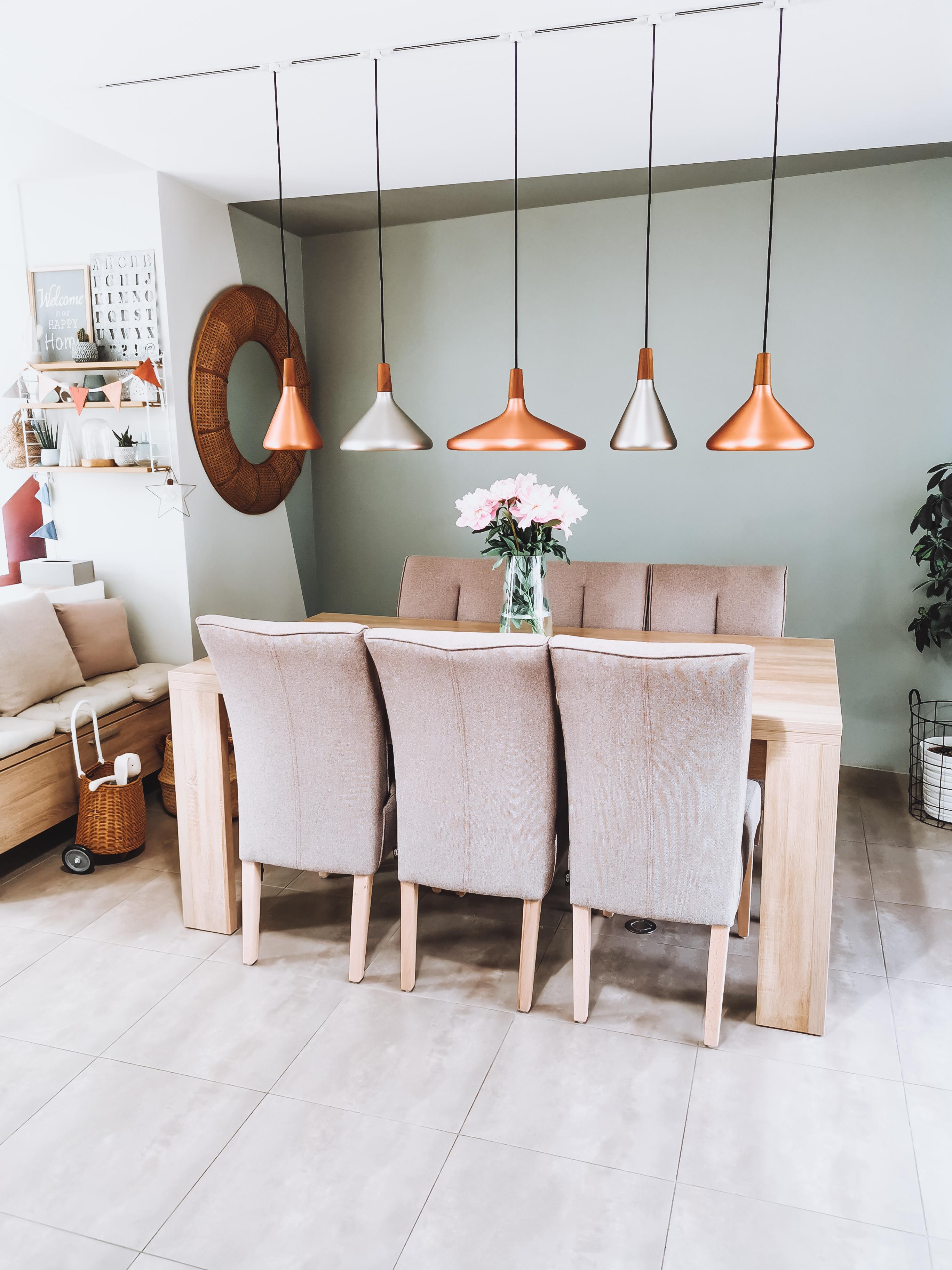 décoration salle à manger avec installation de suspensions Sérézin