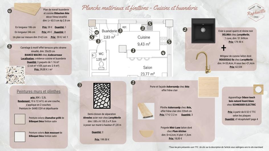 Liste shopping et planche matériaux pour cuisine japandi moderne