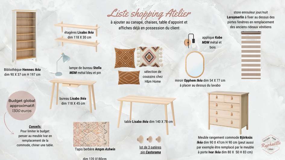 Liste shopping atelier cosy
