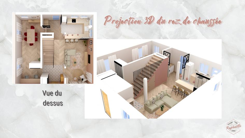 Projection 3D rez de chaussée avec vue globale