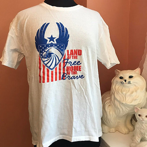 90s Tshirt, Vintage, American Patriotic, Land of the Free, Home of the Brave