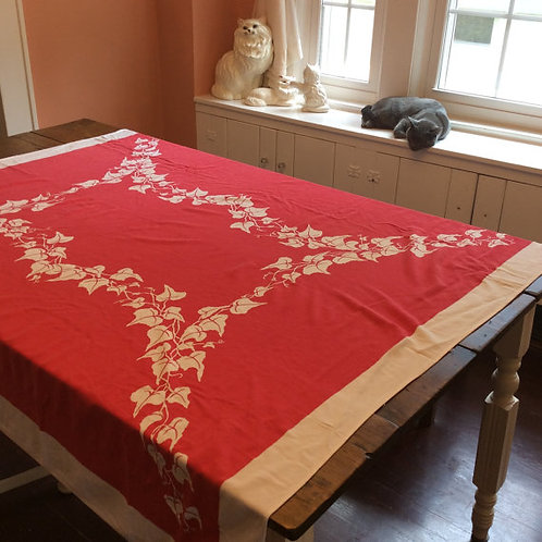 Vintage Red & White Linen Tablecloth, Mele Kalikimaka, 1960s