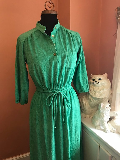 Vintage 70s Dress, 70s Disco Party, Terry Dress, Sporty Dress, Sporty Green Dres