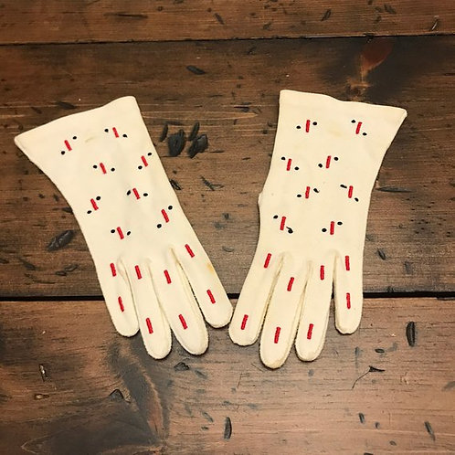 Vintage 40s 50s Gloves, Melletox By Lady Gay, White with Red, Black Embroidery