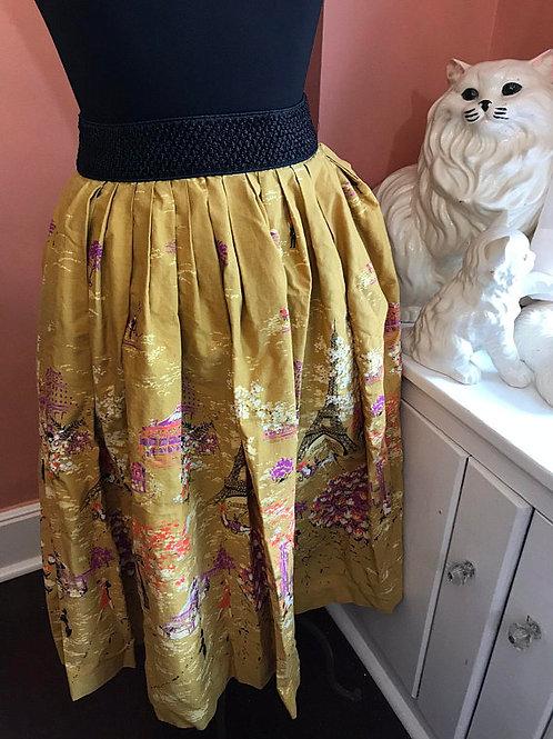 Vintage 50s Skirt, 50s Circle Skirt, Paris, Eiffel Tower Print, Poodle Skirt