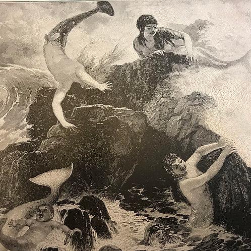 Antique Print, The Mermaidens, Mermaids, Ocean Nymphs, Merman, Mythology
