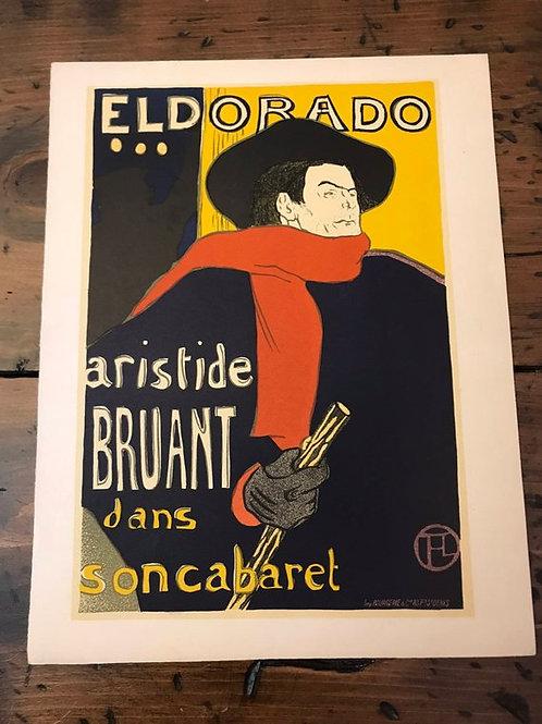 Vintage Print, 1951 Lithograph French Print, El Dorado,Toulouse-Lautrec