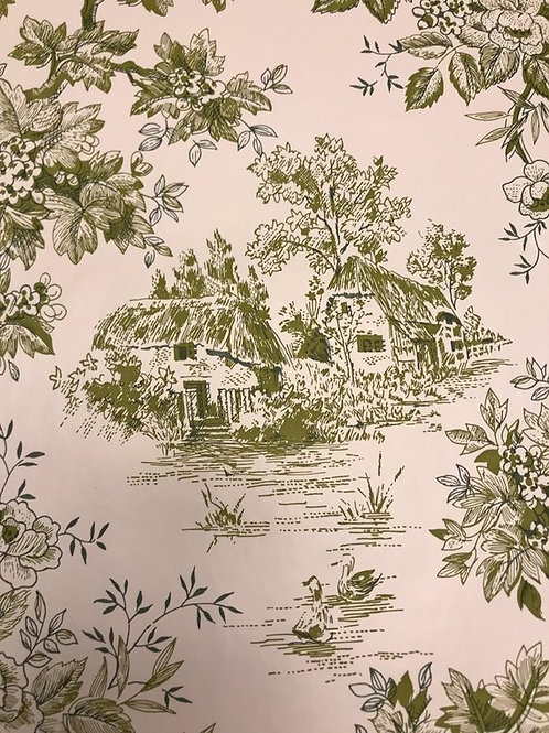 Vintage Shelf Liner, Green Toile Shelf Paper, By the Yard