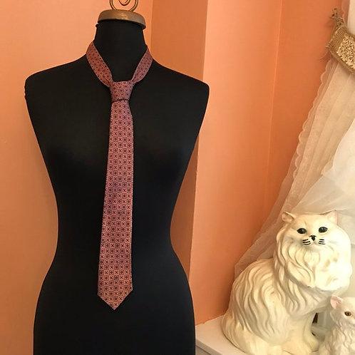 "Vintage Tie, 60s Necktie, 54"" Skinny Tie, Mauve Geometric Print, Mens Fashion"