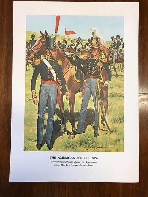 Vintage Print, Military Art, 1966, The American Soldier,1836