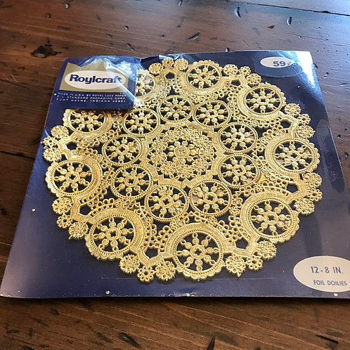Vintage Gold Foil Doilies - New Old Stock, Party Supplies 8 Inch