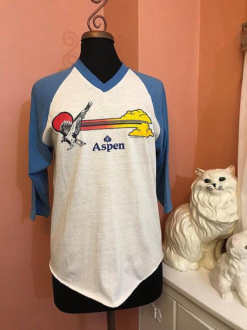 Vintage Tshirt, 80s AspenTshirt, Aspen V-neck Baseball Ringer Tshirt