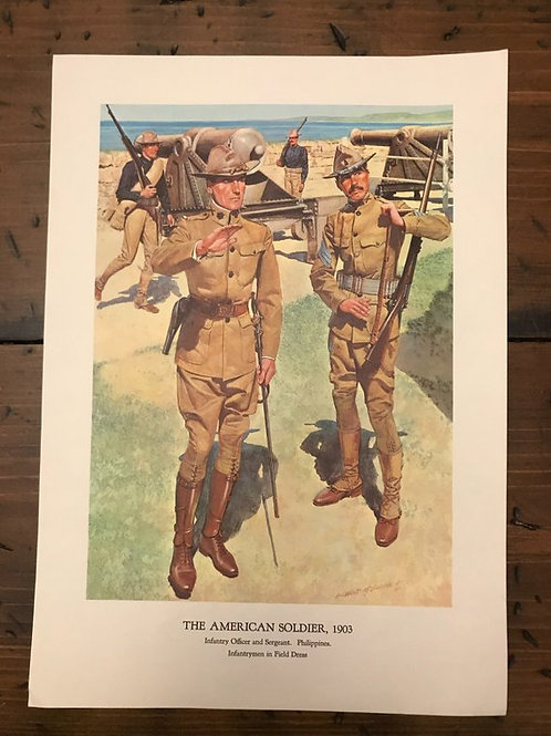Vintage Print, Military Art, 1966, The American Soldier,1903